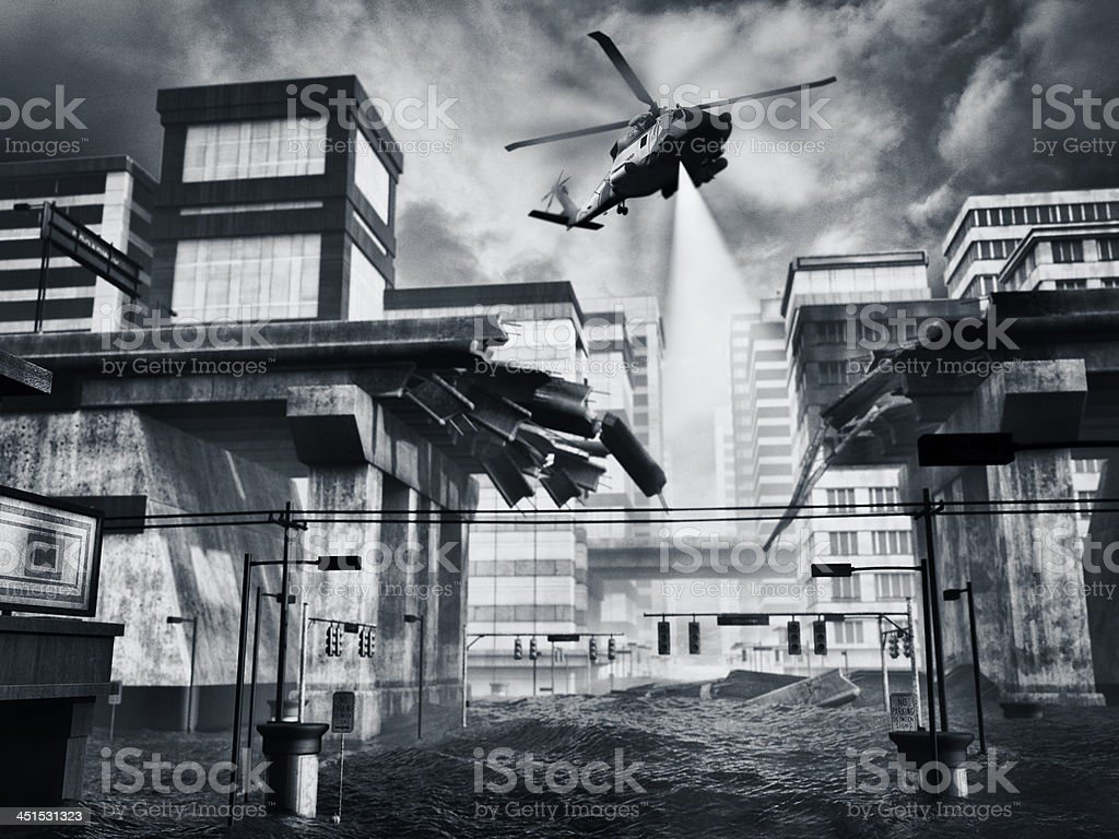 Flooded city with rescue coast guard helicopter in action stock photo