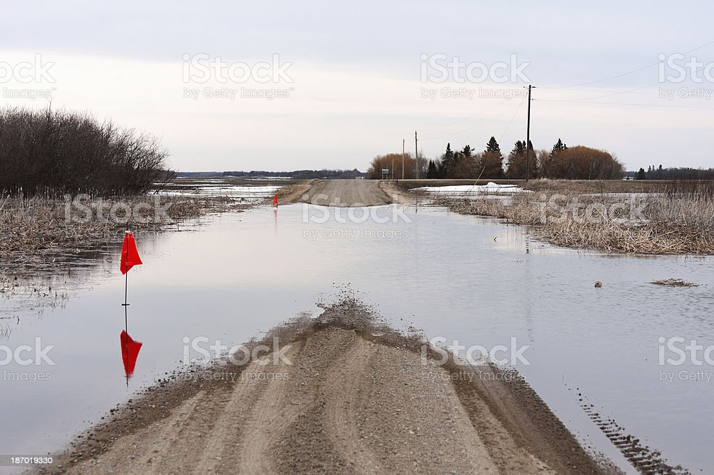 Flooded Country Road royalty-free stock photo
