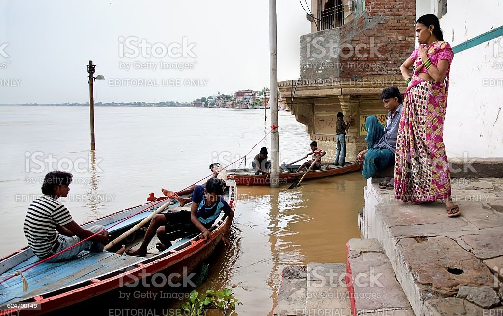 Flooded embankment after monsoon storm stock photo
