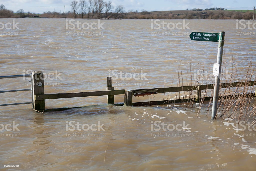 Flooded footpath stock photo