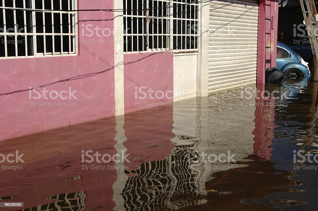 Flooded Home and Car royalty-free stock photo