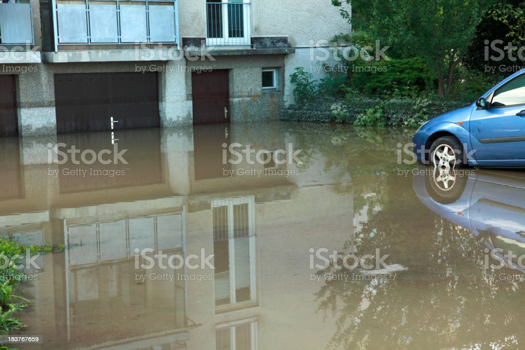 Flooded house and car stock photo
