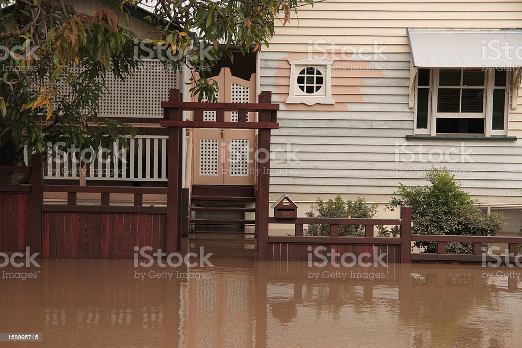 flooded house royalty-free stock photo