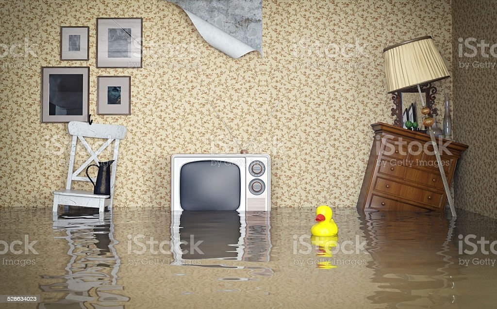 Flooded interior Flooded vintage interior. 3d concept Accidents and Disasters Stock Photo
