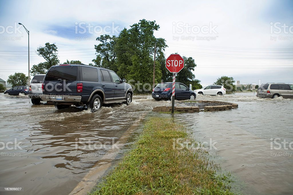 Flooded Intersection royalty-free stock photo
