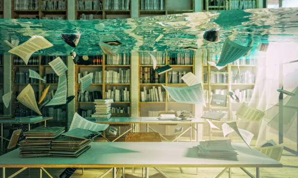 flooded library 3d - flooded room stock photos and pictures