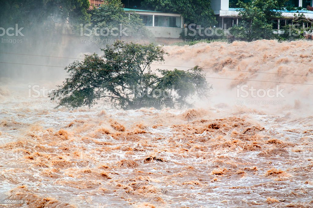 Flooded of muddy water. Overflow. stock photo