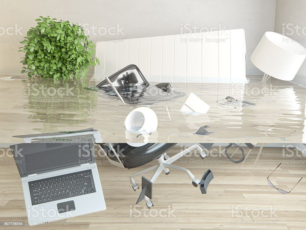 Flooded office stock photo