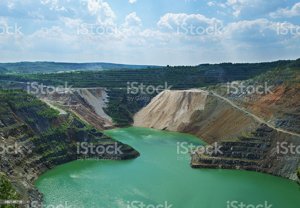 Flooded open-cast mine stock photo