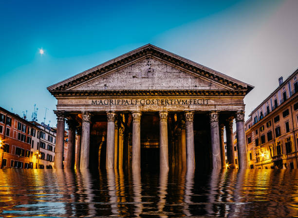 Flooded pantheon in Rome, Italy - digital manipulation climate change concept stock photo