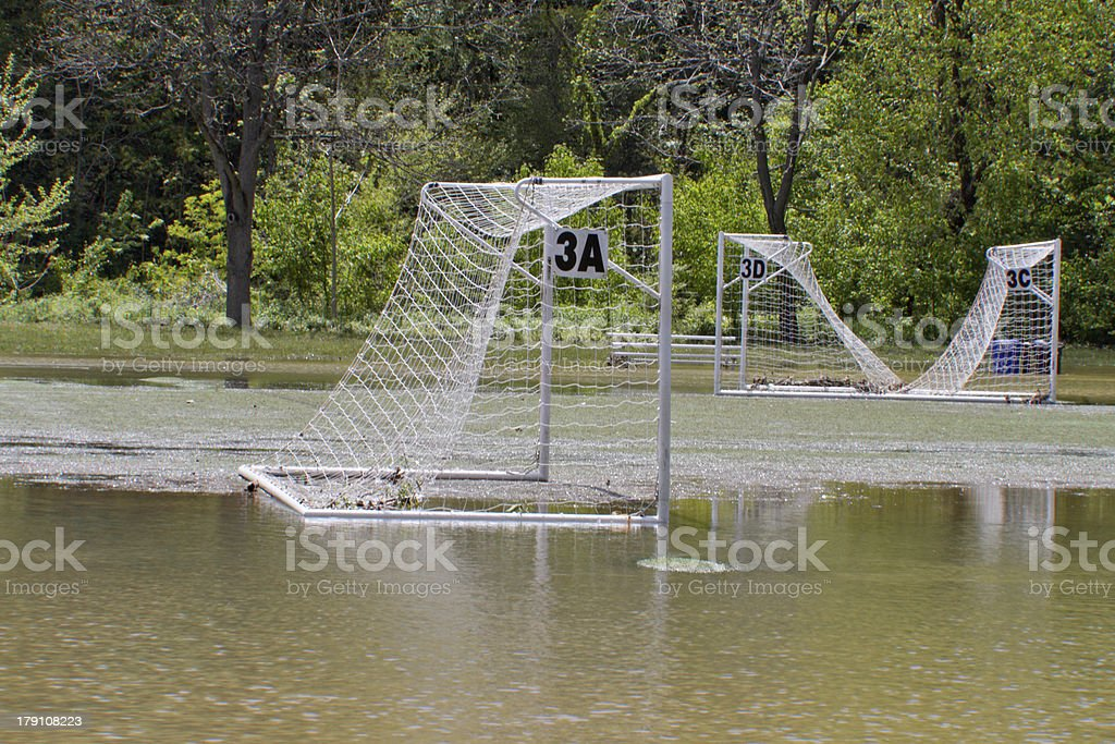 Flooded Park and Soccer Field royalty-free stock photo