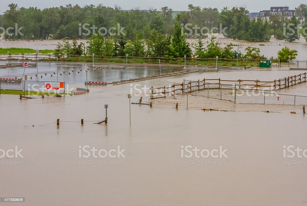 Flooded Parking Lot stock photo