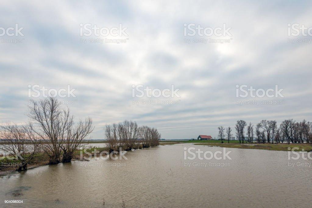 Flooded polder landscape in the Dutch winter season stock photo