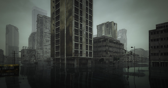 Digitally generated post apocalyptic scene depicting a desolate flooded urban landscape with buildings in ruins and cloudy sky.   The scene was rendered with photorealistic shaders and lighting in Autodesk® 3ds Max 2020 with V-Ray Next with some post-production added.