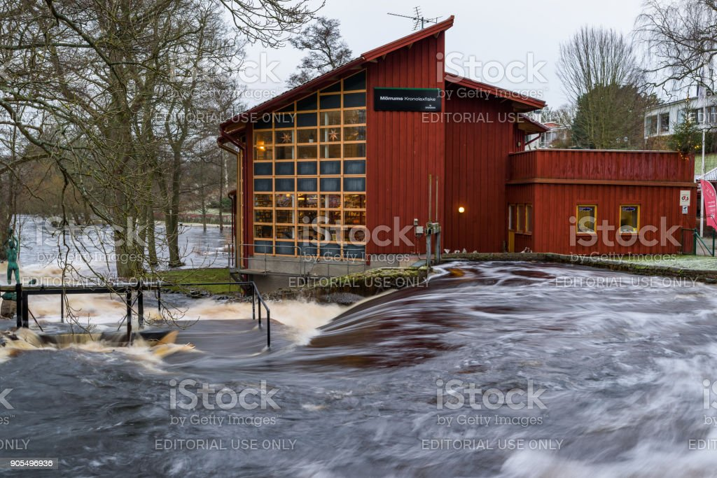 Flooded river at fishing center stock photo
