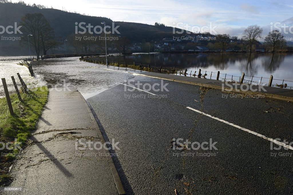 Flooded road at Corwen stock photo