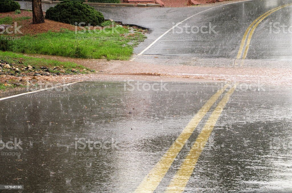 Flooded Road Hail Storm stock photo