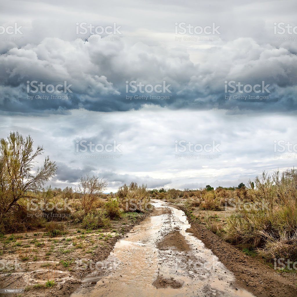 Flooded road in prairie and dramatic sky royalty-free stock photo