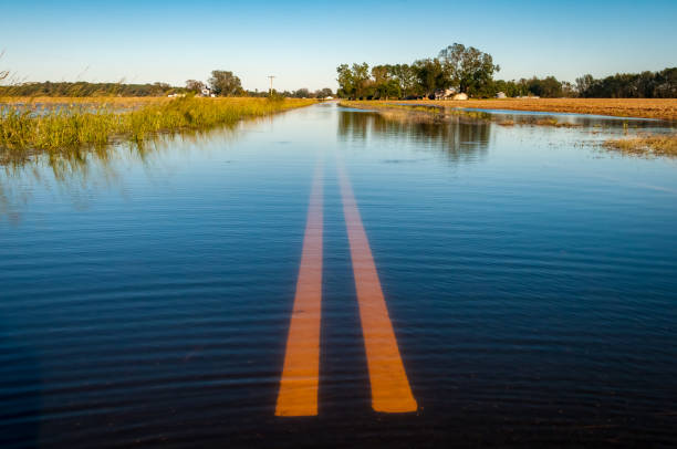 flooded road - impaired driving stock photos and pictures