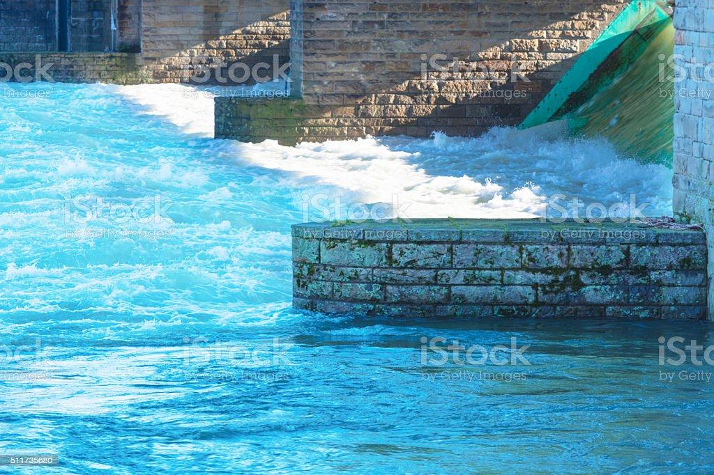 Flooded ship lock during heavy rain stock photo