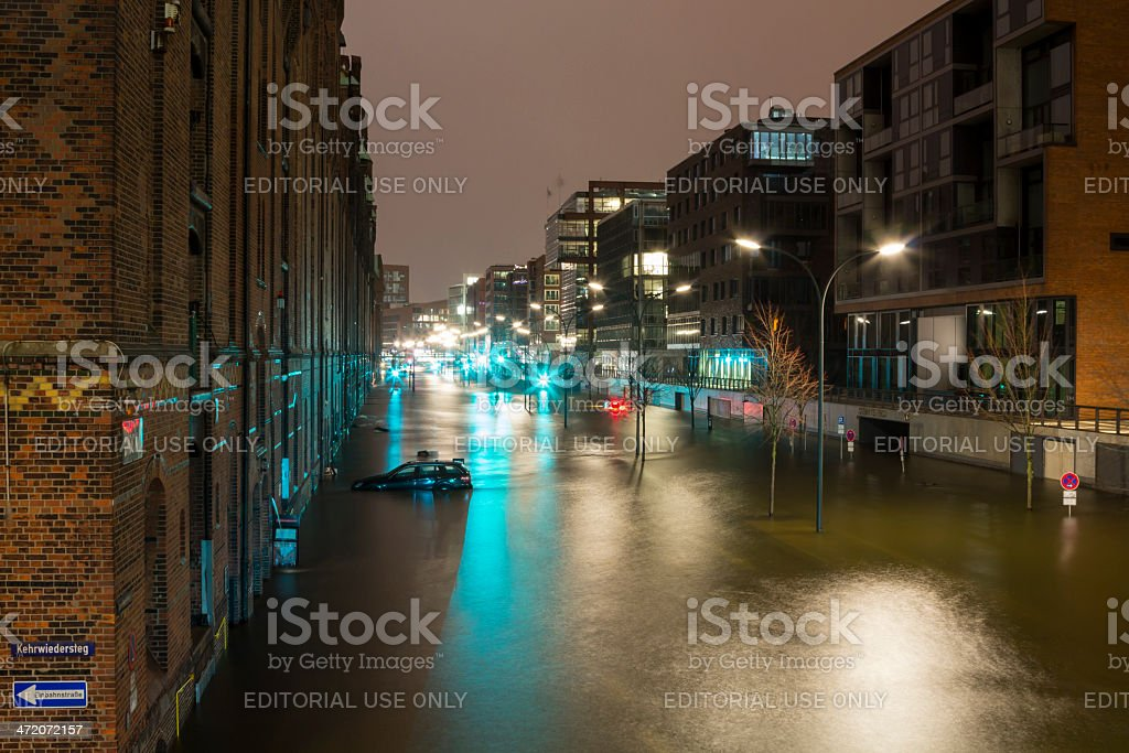 Flooded Street after Hurricane Xaver stock photo