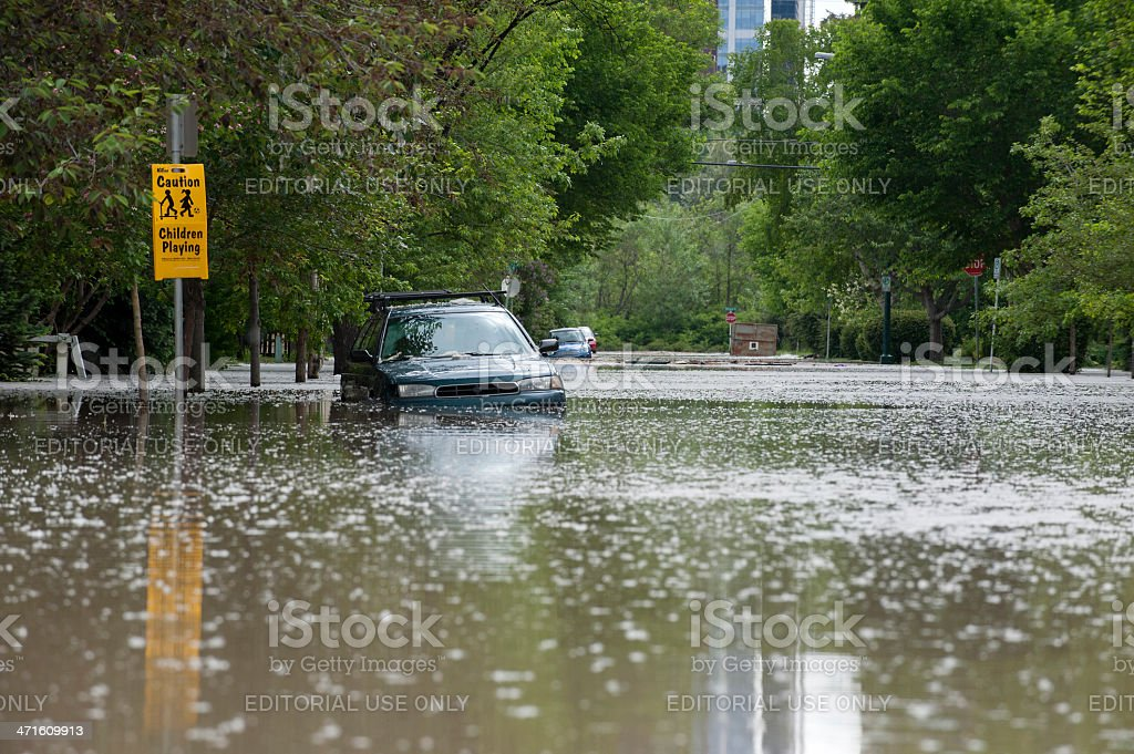 Flooded Street in Calgary ; Flood of 2013 stock photo