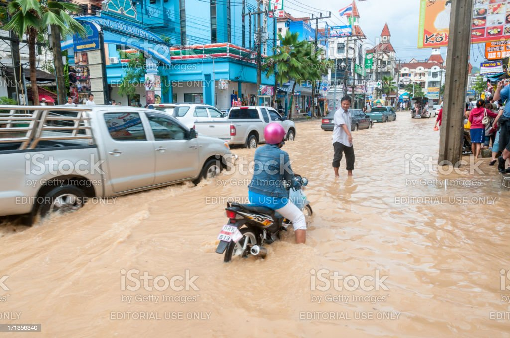 Flooded Street In Patong, Phuket, Thailand stock photo
