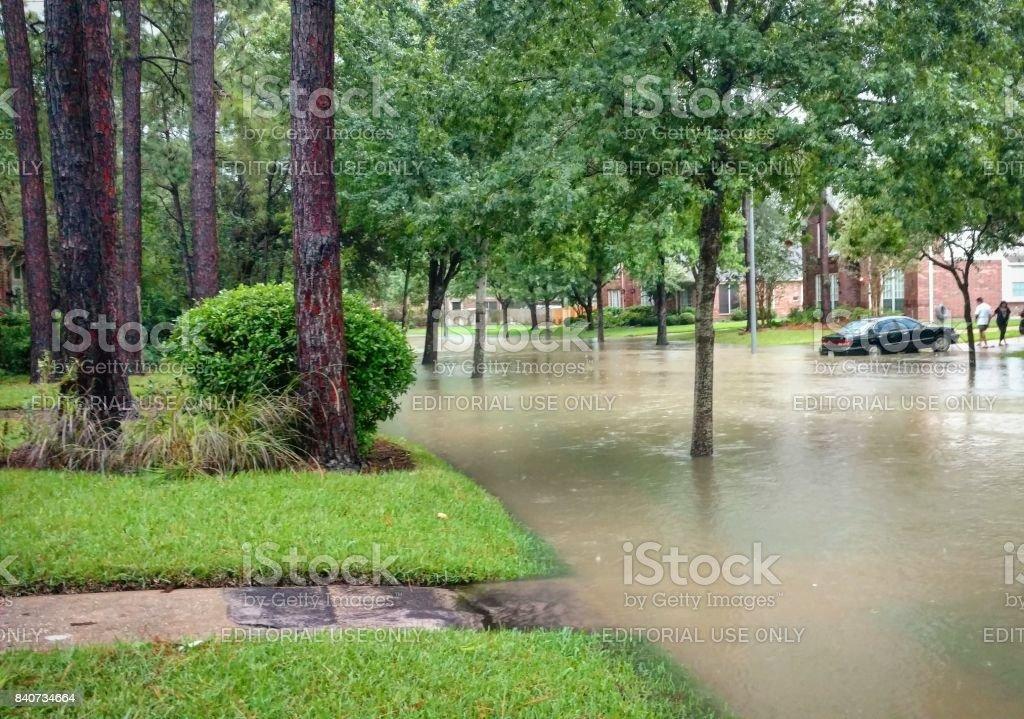 Flooded Street in Suburban Houston from Hurricane Harvey stock photo