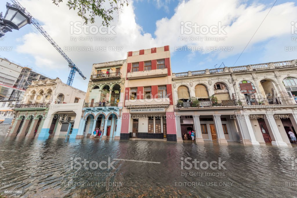 Flooded Street of Havana, Cuba stock photo