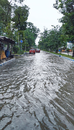 Kolkata, 07/30/2021: Heavily flooded streets of Saltlake Sector V, city's BPO and IT hub after a torrential monsoon rain disrupted citylife and flooded several parts of city.