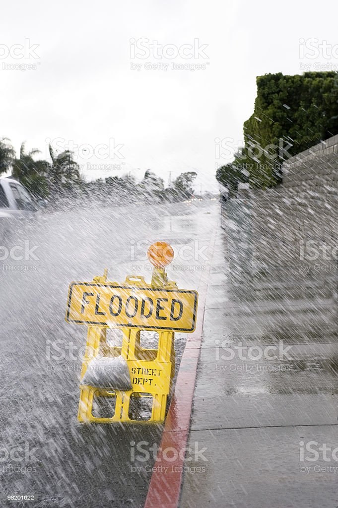Flooded street sign royalty-free stock photo
