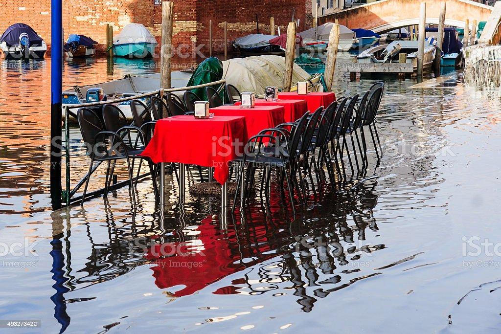 Flooded street, Venice stock photo