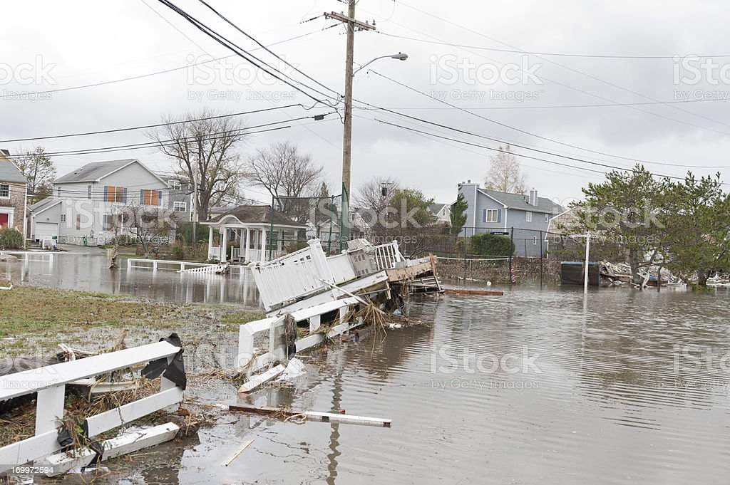 Flooded streets and debris caused by Hurricane Sandy stock photo