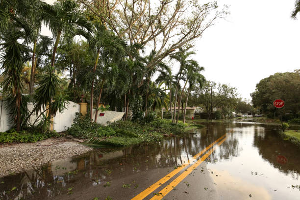 Flooded streets in Fort Lauderdale, Florida, USA. stock photo