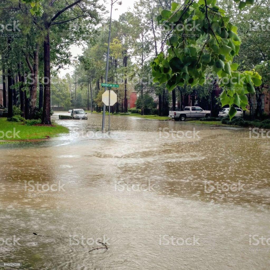 Flooded Suburban Texas Street from Hurricane Harvey stock photo