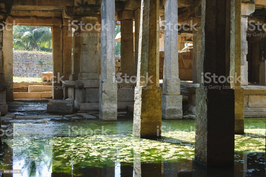 Flooded Underground Shiva Temple in Hampi, India stock photo