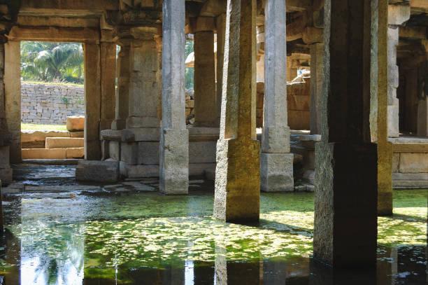 Flooded Underground Shiva Temple in Hampi, India stock photo