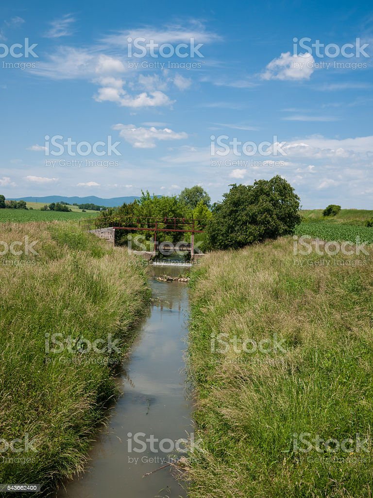 Floodgate on the river stock photo