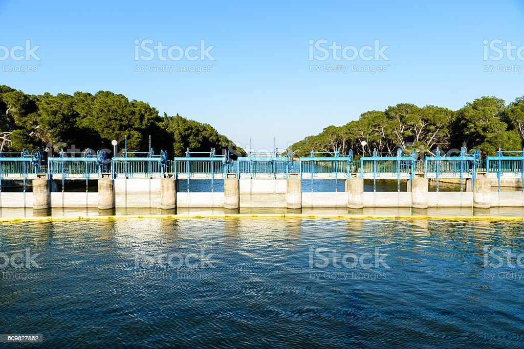 Floodgates on river. stock photo
