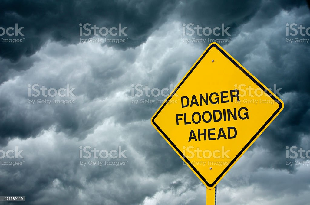 Flooding Ahead Road Sign royalty-free stock photo
