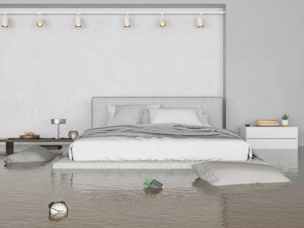flooding bedroom interior - flooded room stock photos and pictures