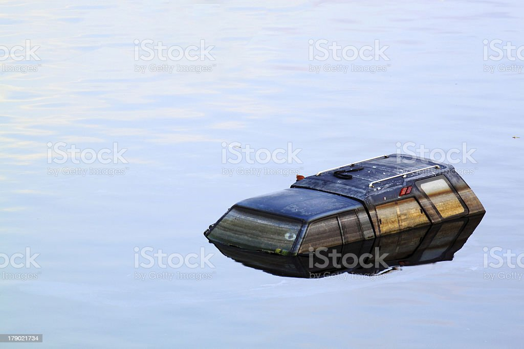 Flooding car royalty-free stock photo
