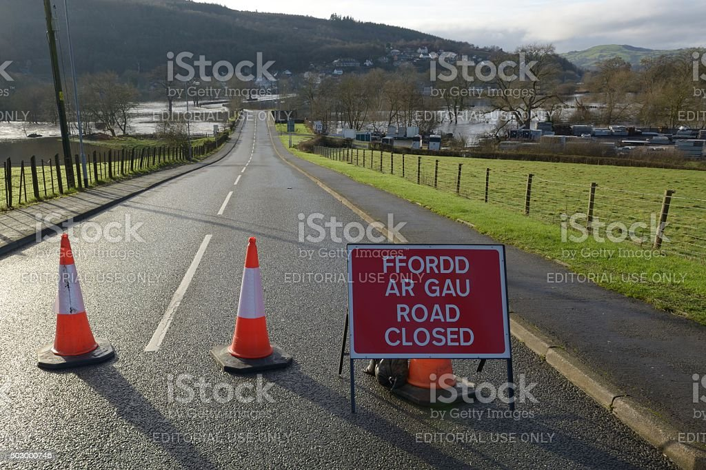 Flooding causes road closure at Corwen stock photo