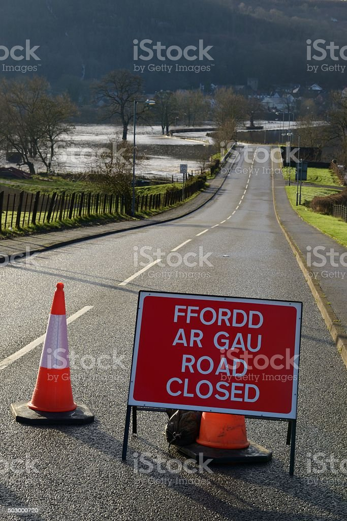 Flooding causes road closure stock photo