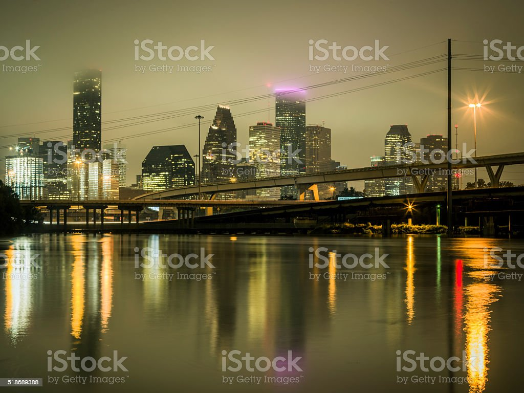 Flooding in downtown Houston, at night stock photo