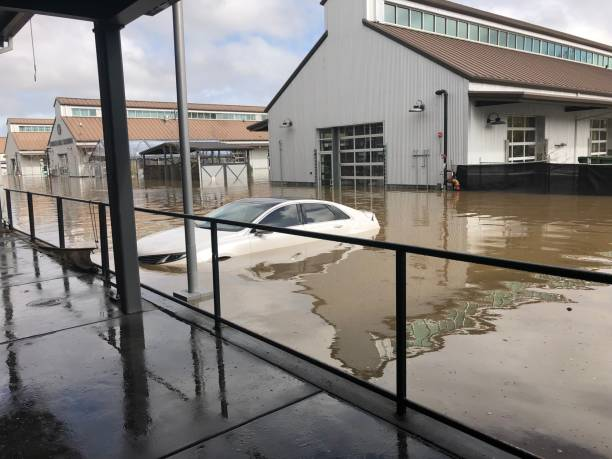 Flooding in downtown Sebastopol, California in western Sonoma County stock photo