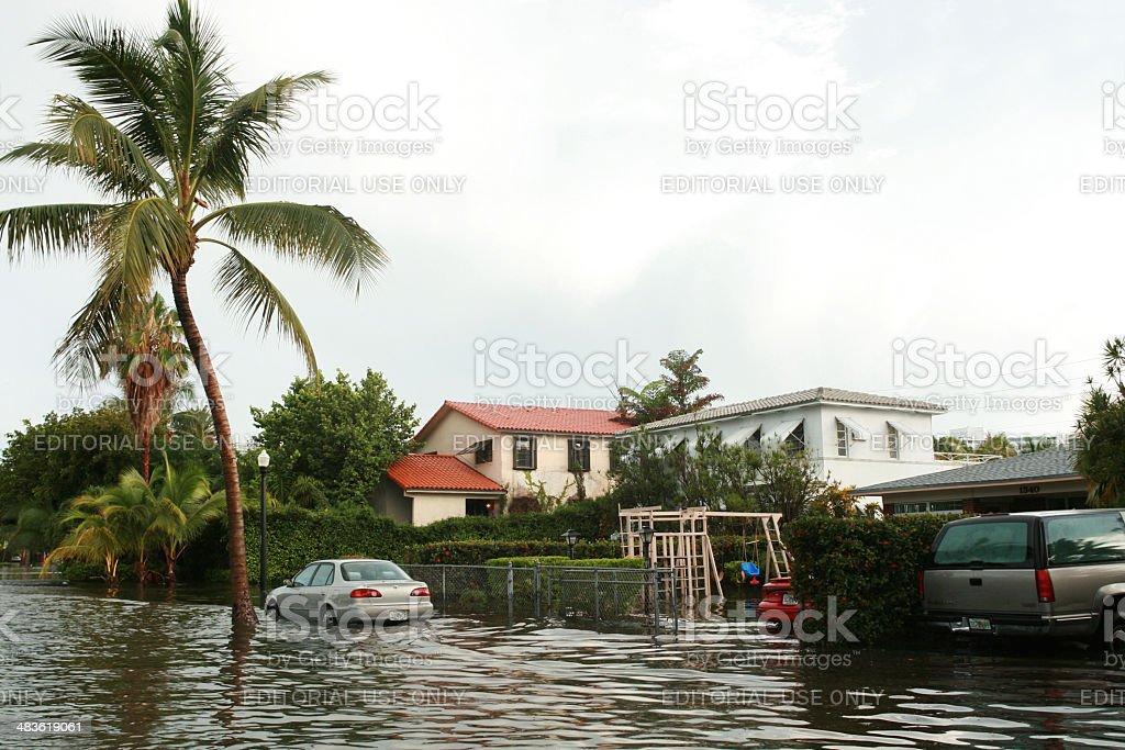 Flooding in Miami Beach stock photo