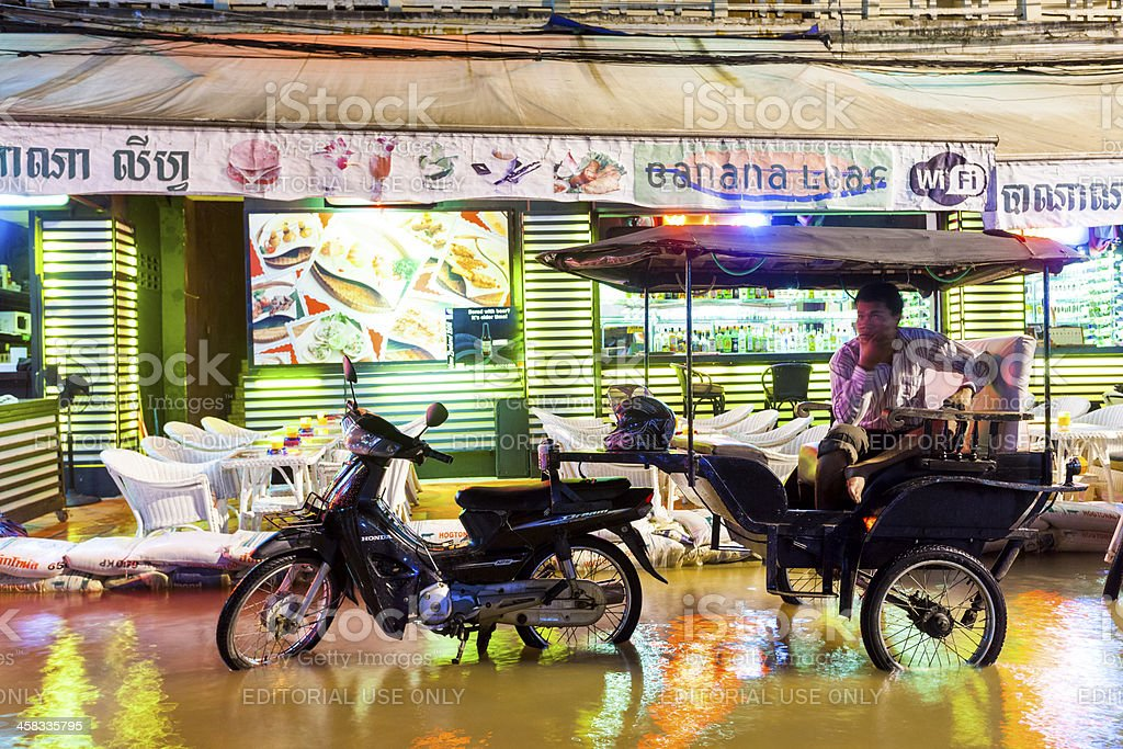 Flooding in Pub Street, Siem Reap, Cambodia royalty-free stock photo