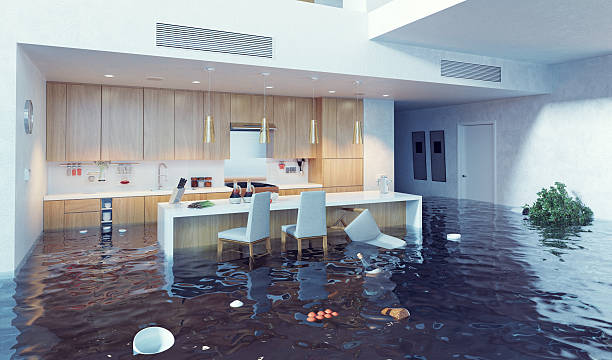 flooding in the kitchen stock photo