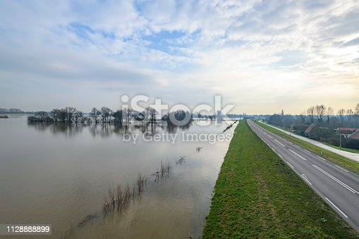 Flooding in the overflow area against the dyke of the river IJssel near Zwolle in The Netherlands